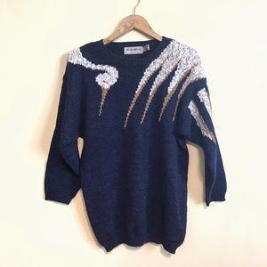 Vintage Crane Bird Sweater Navy Blue Small